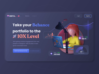 InstaM Animation of Dark Concept chart motion button icon playoff concept crypto character branding art app web illustration animation dashboard design takasho ux ui 3d