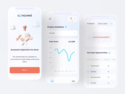 Mobile version presentation | Concured minimal ux web design interaction userinterface nft crypto wallet character button chart clean mobile app vector illustration 3d animation design ui