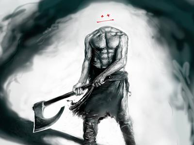 Shadow Lord illustration photoshop black red warrior barbarian