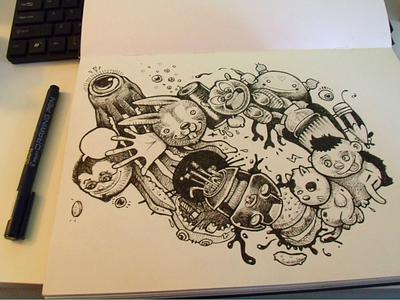 imaginatrix illustration ink cartoon paper