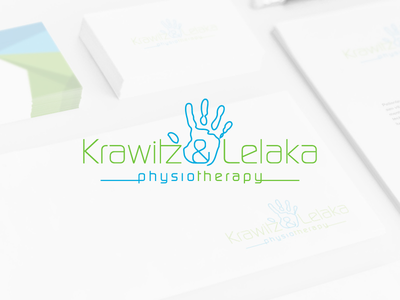 Krawitz & Lelaka vector illustrator logo hand ampersand blue green physio therapy