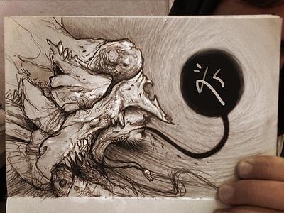 The New Breed illustration ballpoint sketchbook character monochrome symbol dark