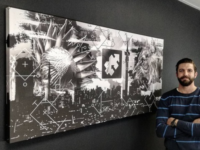 Digital Artwork / Canvas Print joburg monochrome print canvas technology art protea lion symbology artwork digital