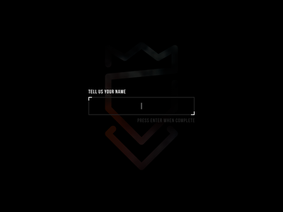 Tell Us Your Name introduction text area text box form bebas bebas neue vercidium marked first person shooter fps game art game logo typography black dark glsl c opengl vector