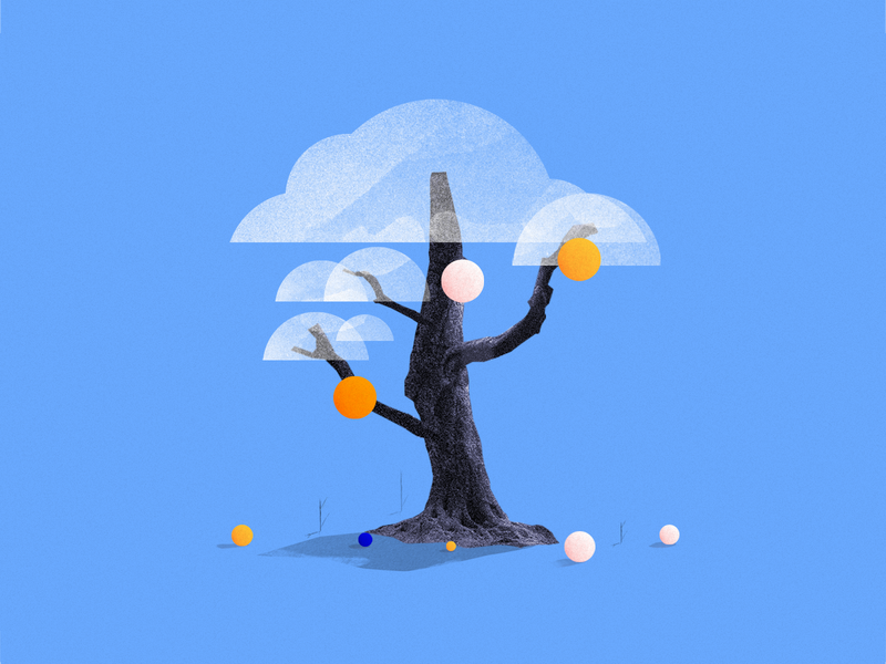 Tree illustration collage wood tree concept art concept animation 3d