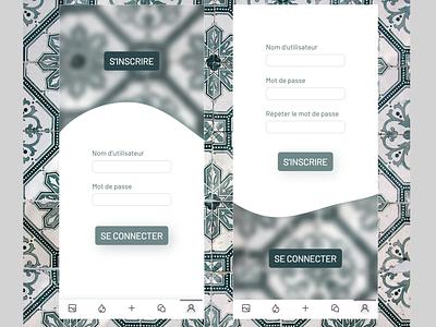 Achitectural patterns and glassmorphism login french app ui design