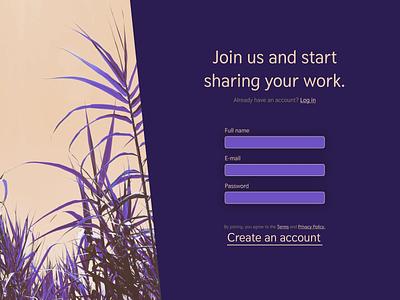 Account creation ui sign up page sign up desktop design design