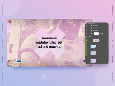 YouTube Ad Mockup (PSD file) advert ad video youtube branding design template psd photoshop mockup design mockup