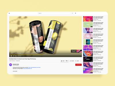 YouTube Ad and Video Page Mockup (PSD file) youtube illustration branding design template psd photoshop mockup design mockup