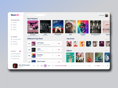 MusicLife Dashboard musiclife webdevelopers musical musicweb musicapp webdesign app web ui ux design illustration