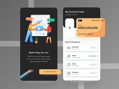 Credit Card App history credit cards dark theme darkmode dark ui mobileapp financeapp finance creditcard