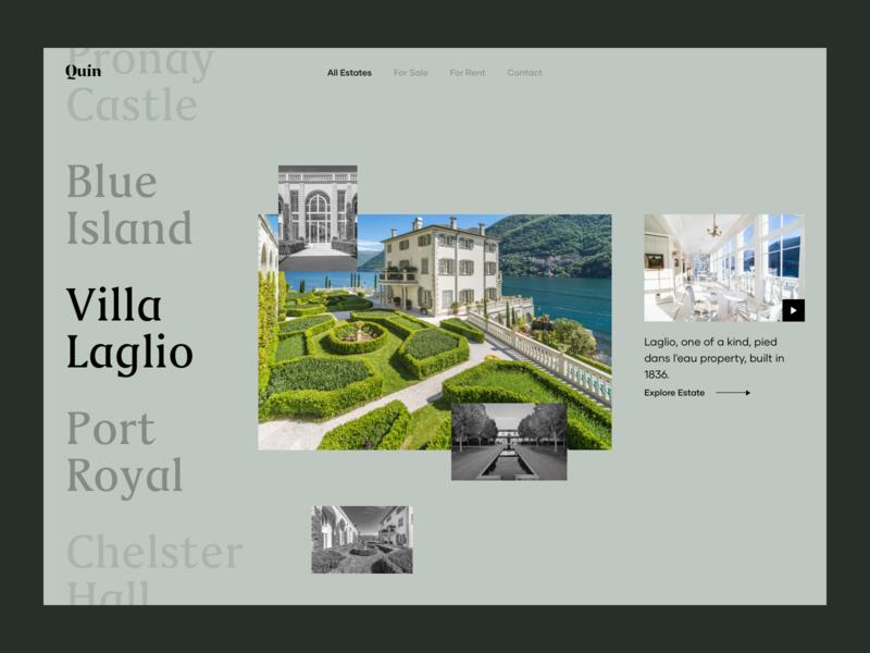 Estate Selection ux design ui design landing page ux ui image photo video web app website list select realestate estate villa