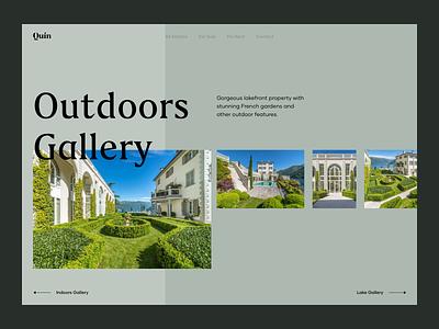 Outdoors Gallery luxury web application estate property villa ux design ui design landing page real estate realestate web app layout horizontal scroll slider description gallery