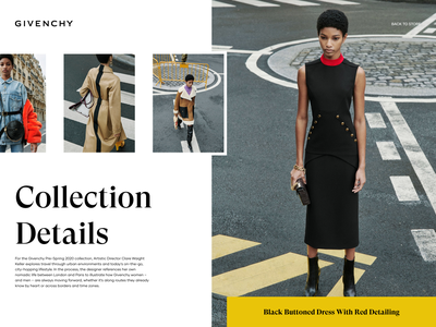 Collection Details layout web ui design ux design landing page design woman gallery details collection street photography style luxury brand fashion