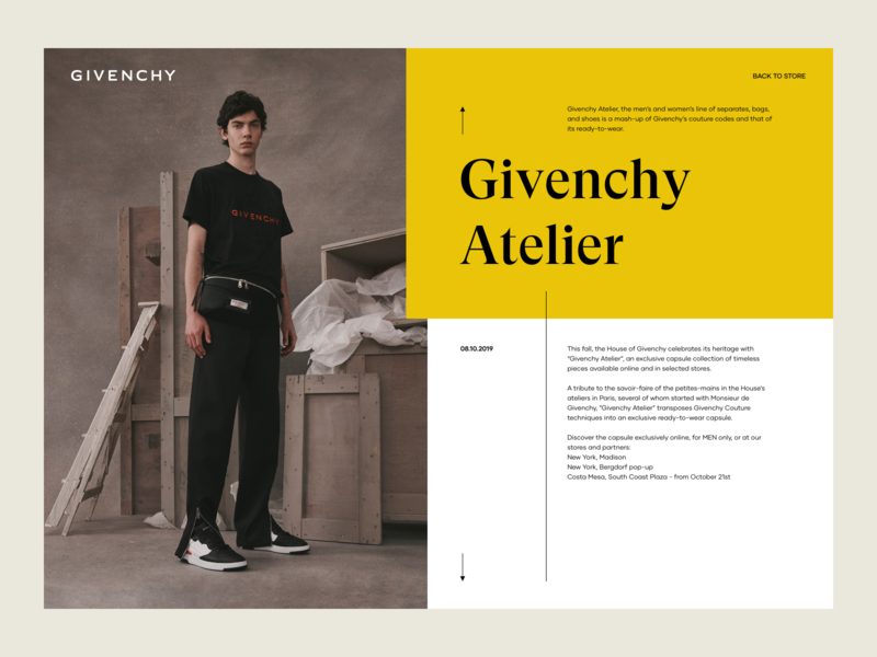 Givenchy Atelier luxury design layout web ux design ui design landing page post blog article image gallery givenchy fashion