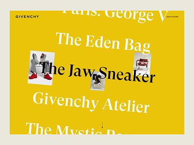 Givenchy Stories Menu layout web ux design ui design landing page articles stories givenchy luxury brand fashion photography images list menu