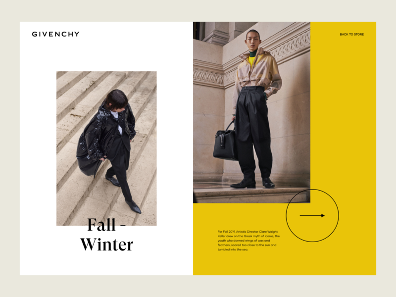 Fall - Winter Collection article description layout web ux design ui design landing page luxury fashion photography gallery collection winter fall