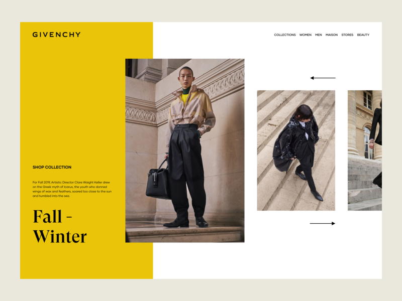 Givenchy Men Collection Preview design layout web ux design ui design landing page luxury lookbook grid fashion photography gallery