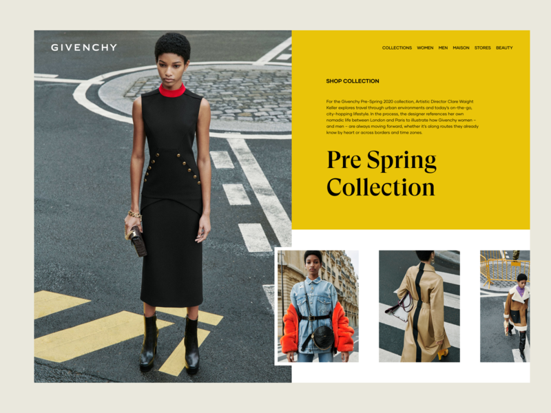 Givenchy Women Collection Preview layout web ux design ui design landing page brand luxury fashion spring photos photography gallery collection women