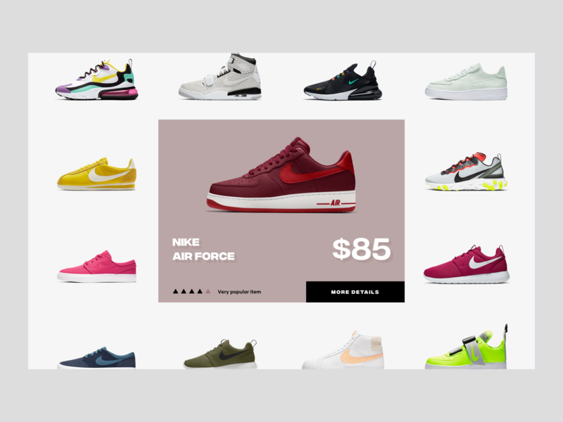 Nike Store Backend fashion web layout ux design ui design shopify store app app price orders fulfillment storefront concept nike shoes store