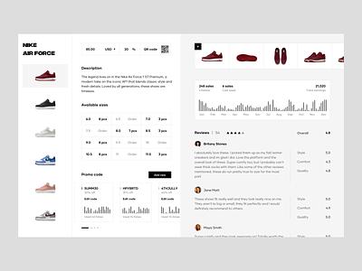 Product Description & Analytics web ux design ui design landing page color bar chart promo code sizes reviews order management order fulfillment order analytics description shoes product page