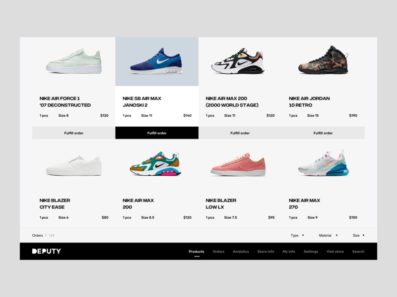 Nike Order Fulfillment menu web ux design ui design landing page price product page products filters orders models sizes shop shoes order fulfillment order