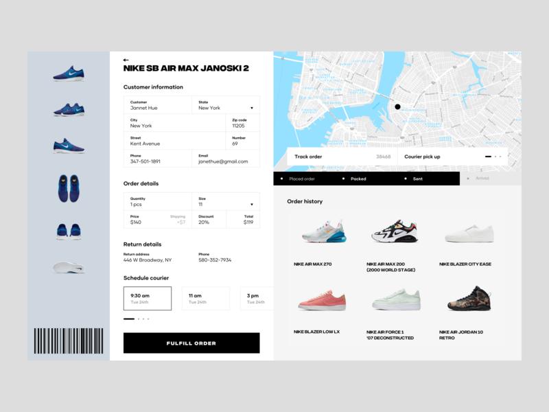 Nike Complete Order order history web ux design ui design landing page track order gallery product page order details schedule order fulfillment shoes progress map store order