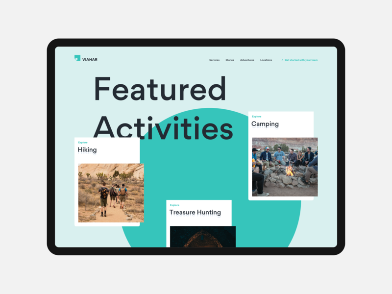 Featured Activities design layout web ux design ui design landing page menu choice cards gallery featured outdoors activities
