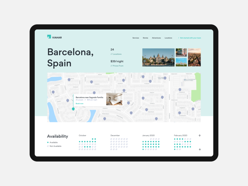 Locations and Availability layout web ux design ui design landing page prices photos images pins calendar availability travel gallery map locations