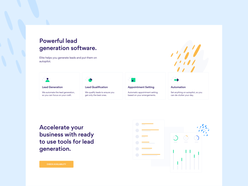 Product Page for Elite layout web ux design ui design web app product landing page availability features analytics automation settings appointment lead qualification software lead generation