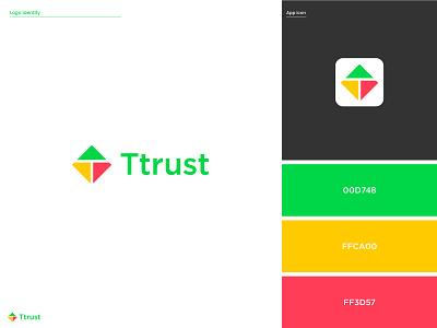 Ttrust Logo - Logo Design - Banking Logo creative logo t logo modern logo mark kite logo brand identity logo design logo designer app creative graphic design branding