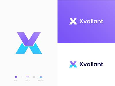 X+V Lattermark Logo - X+V Modern Logo branding letter logo logo coloring flat logo minimalist logo web visual identity app icon tech logo ux technology modern logo brand identity ui graphic design colorful logo