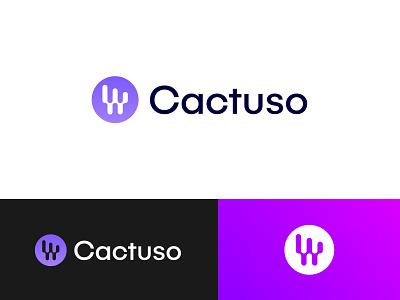 Cactuso Logo Design app icon logo design branding brand identity cactus logo abstract tech logo modern logo marketing logo digital agency advertising logo startup company app logo illustration ecommerce gradient visual identity corporate business logo