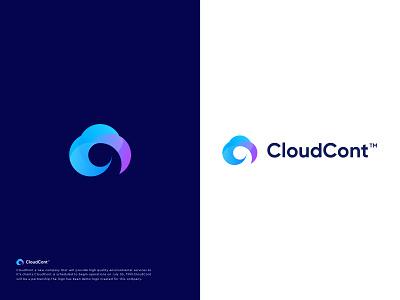 CloudCont™ Logo Design app icon logo design brand identity ecommerce clouds startup hosting connect cloud icon brand identity design minimal branding logo data symbol modern logo colours
