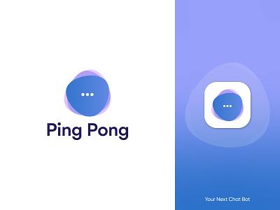 Ping Pong logo design, chat logo logo design ui chatbot bot chat app icon chatting chat logo modern brand identity modern logo logo branding message chat connection conversation gradient talk conversational