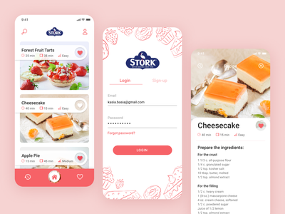 Stork mobile app - baking app redesign wroclaw designer user interface user experience ui  ux redesign recipe app recipe figma baking application app design app
