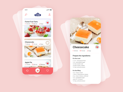 Stork mobile app - baking app redesign v.3 colorful user userinterface ui  ux redesign cook user interface user experience figma recipe pink food baking design app