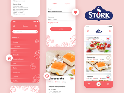 Stork mobile app - baking app redesign v.5 designer wroclaw illustrations application app design user interface user experience ui  ux redesign recipe figma baking app