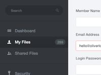Admin interface - Sidebar Navigation