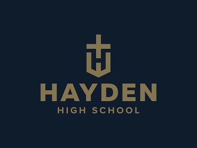 Hayden High School Logo icon private school topeka kansas wildcats gold blue hayden school high school h christ church cross christian catholic typography branding logo