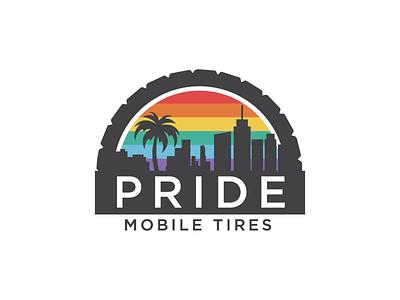 Pride Mobile Tires rainbow flag rainbow pride tires branding logo
