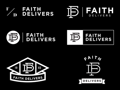 Faith Delivers black and white clothing company branding logo