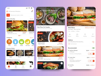 Food Delivery Application | UI restaurant screens phone designs mobile userinterface uiux application delivery food