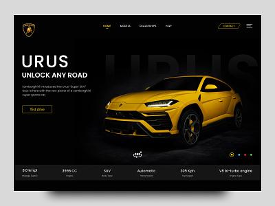 Lamborghini Urus - Landing Page | Web UI hero section userinterface uiux websites page landing car design urus lamborghini