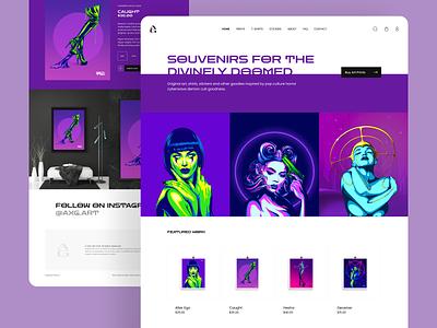 AXG online store artistic retro cyberwave illustration art ux ui e-commerce website shopify