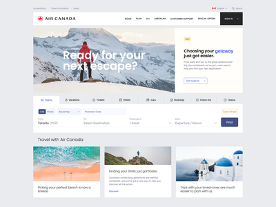 Air Canada montreal canada toronto logo activity feed tickets vacations air canada redesign travel ux ui website