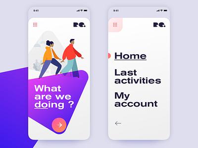 Homepage & menu mobile design trend app ios app design menu design homepage icon typography logo webdesign illustration design mobile ui