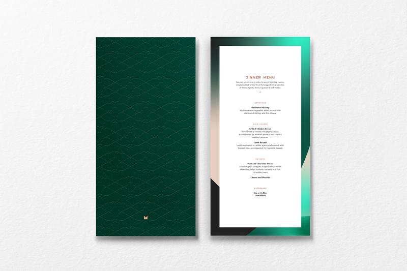 Emerald by Emirates in flight menu emboss design emboss gold foil logo identity design menu design menu card menu print identity system branding brand graphic design typography