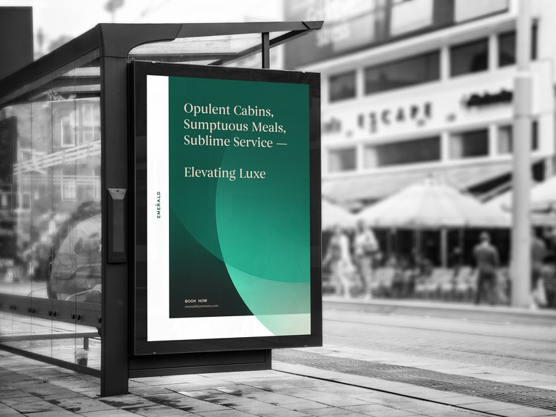 Emerald by Emirates bus stop advertisement print design identity signage type design rebrand identity design type print identity system branding brand poster graphic design typography