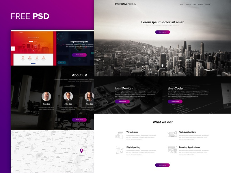 Interactive agency PSD template download psd free symu webdesign design web ux ui
